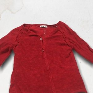 DEX Red Long Sleeves Knitted Cardigan